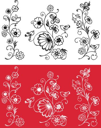 Vector image of decorative blooming twigs with flowers and birds Ilustrace
