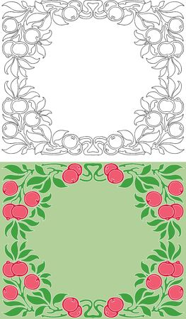 Decorative floral frames of twigs with berries and leaves 일러스트