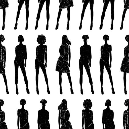Seamless background of fashionable young women silhouettes Stock Illustratie