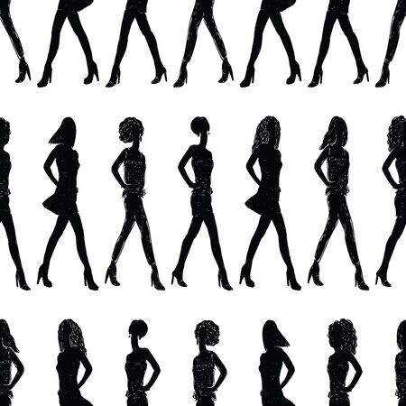 Seamless background of striding slender girls silhouettes