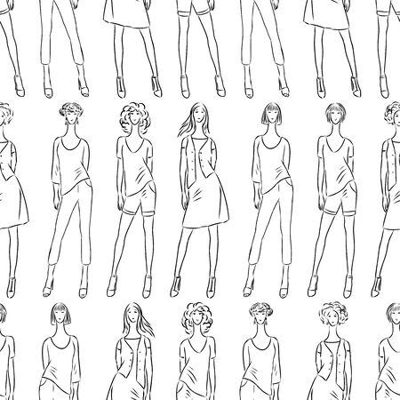Seamless pattern of fashionable slender women sketches in summer clothing collection