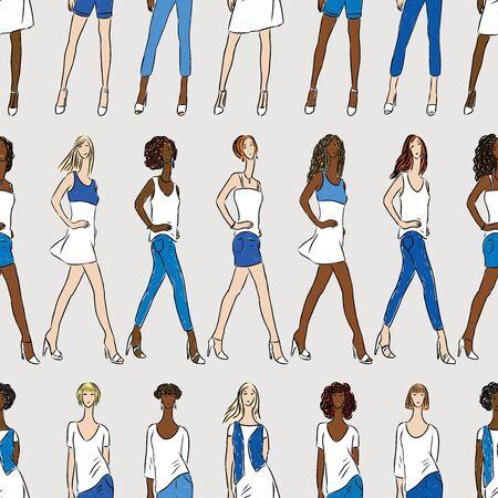 Seamless pattern of fashionable young women on catwalk