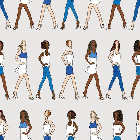 Seamless pattern of striding fashionable slender girls Stock Illustratie