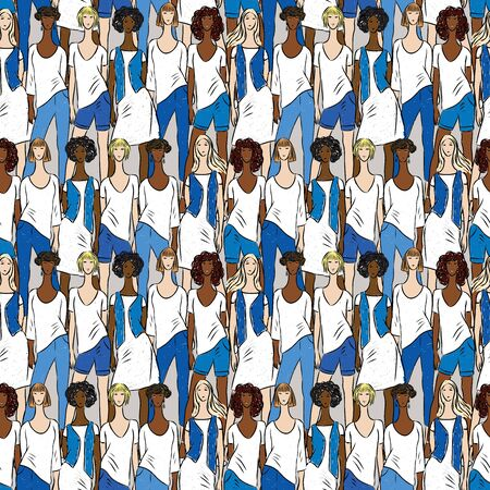 Seamless pattern of young women in denim clothes collection
