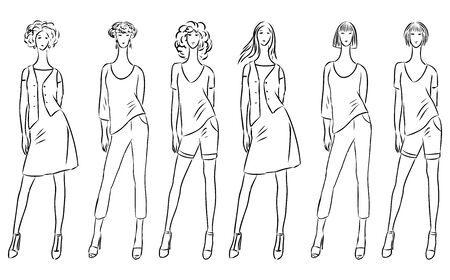 Sketches of fashionable slender women in summer clothing collection