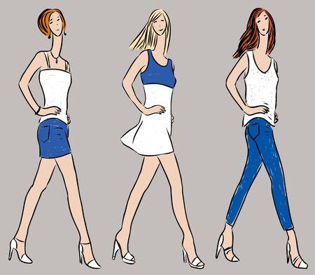 Vector drawing of striding slender women in denim summer clothing
