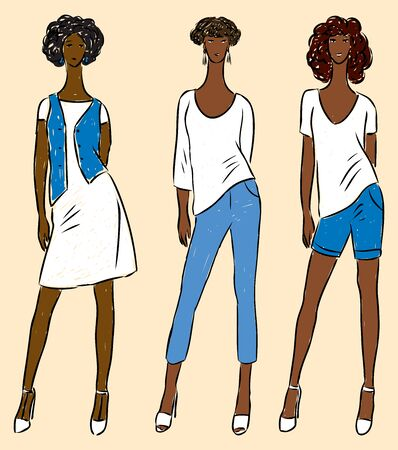 Vector drawing of young slim women in jeans,dress, t-shirts and denim vest and shorts