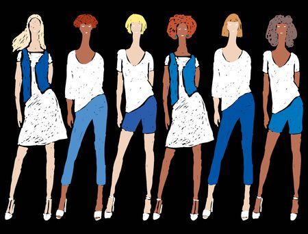 Vector image of doodles girls  in denim summer clothing standing on catwalk Stock Illustratie