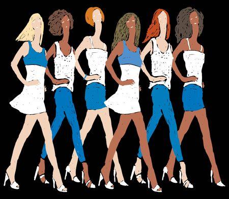 Vector image of doodles girls  in denim summer clothing striding on catwalk