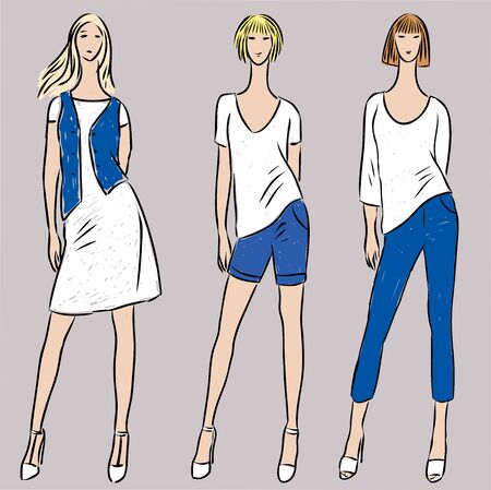 Vector image of young slim women in jeans,dress, t-shirts and denim vest and shorts