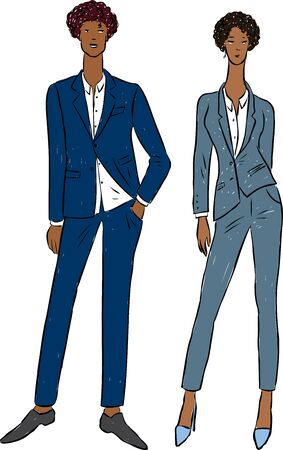 Vector drawing of couple young people in classical business suits