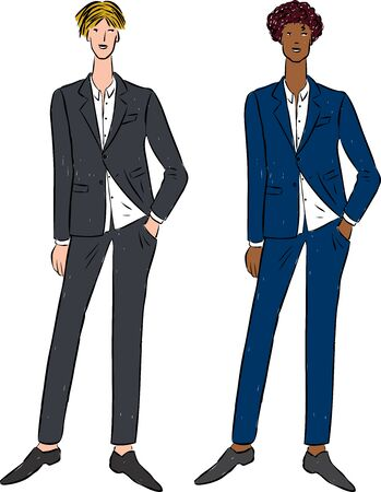 Vector drawing of young men in business costumes Ilustrace