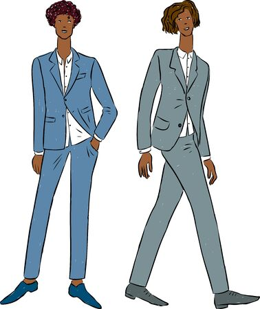 Vector drawings of young men in classical business suits