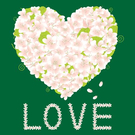 Vector greeting card with floral heart and lettering love from delicate flowers Ilustrace