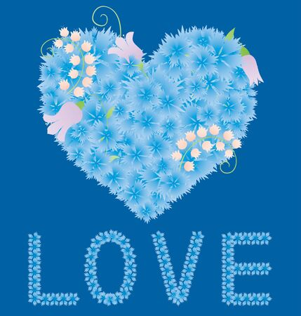 Vector greeting card with floral heart from blue cornflowers and lettering love