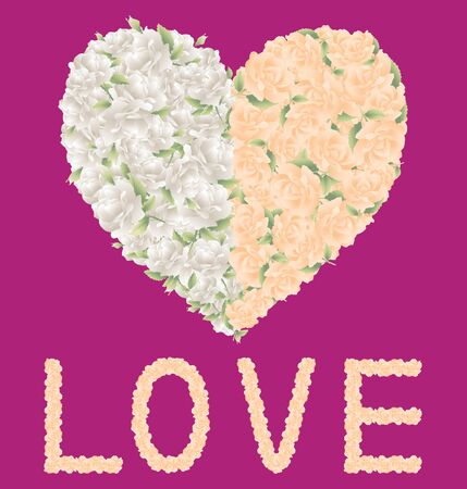 Vector greeting card with floral heart from white and pink roses and lettering love