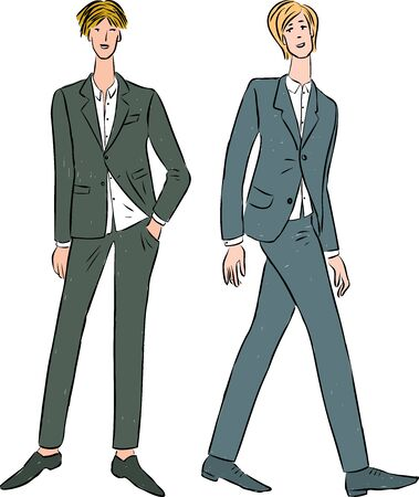 Vector image of young men in business suits