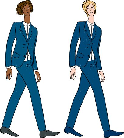 Vector image of young men in classical business costumes Ilustrace