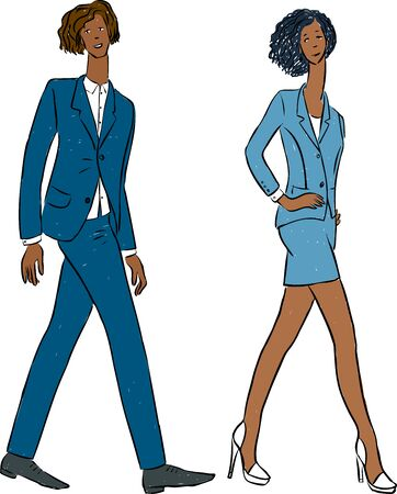 Vector of couple young people walking in classical business suits Ilustrace