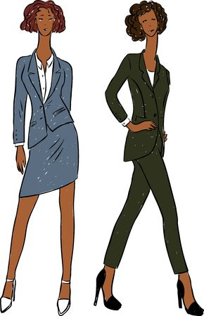 Vector idrawing of young business women in classic costumes on catwalk Ilustrace