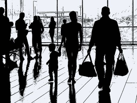 Vector illustration of silhouettes traveling people in airport hall