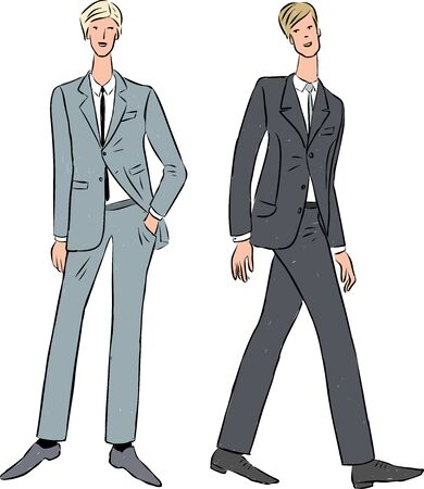 Vector illustration of young people in classic suits