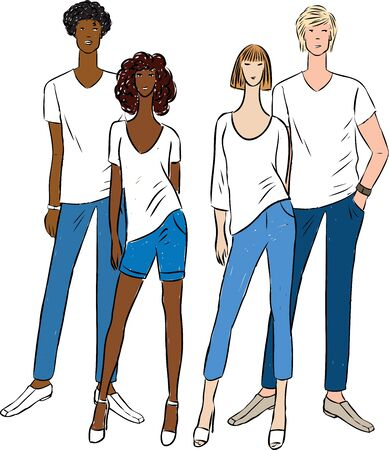 Vector illustration of young people in summer cotton jeans clothing
