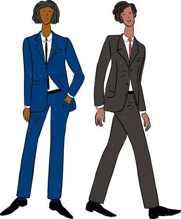 Ilustración de vector de jóvenes en trajes clásicos