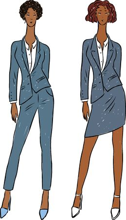 Vector image of young business women in classic suits Ilustrace