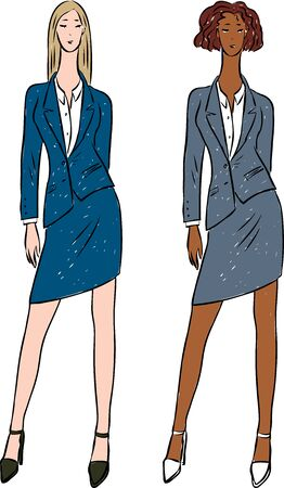 Vector image of young fashionable women in classic suits Ilustrace