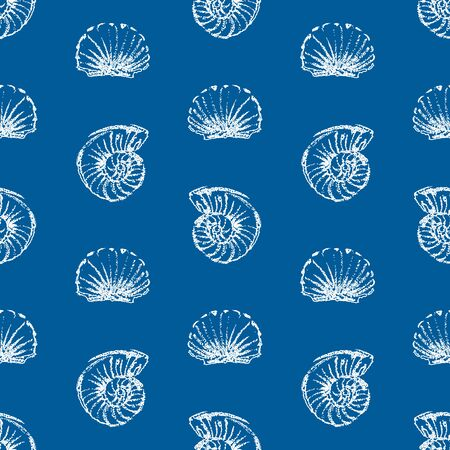 Seamless background of seashells sketches
