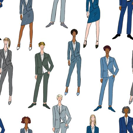 Seamless background of young business people in classic suits Ilustrace