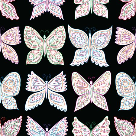 Seamless pattern of ornamental various butterflies
