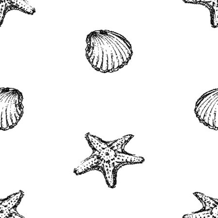 Seamless pattern of outlines seashells and sea stars