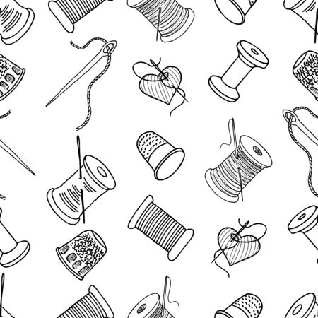 Seamless pattern of outlines sewing needles, thimbles and thread bobbins