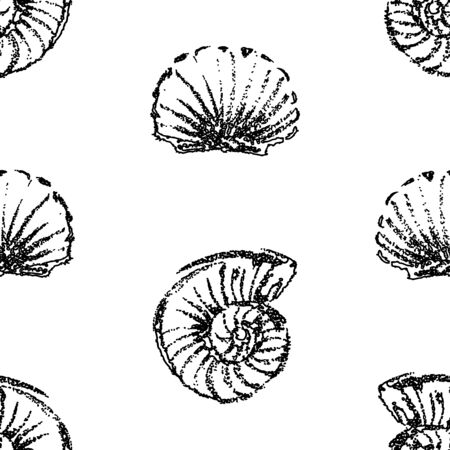 Seamless pattern of seashells sketches