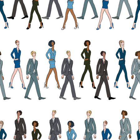 Seamless pattern of walking young people in business suits Ilustrace