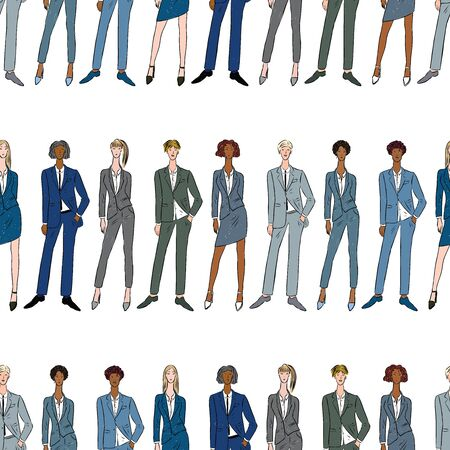 Seamless pattern of young business people in classic suits Ilustrace