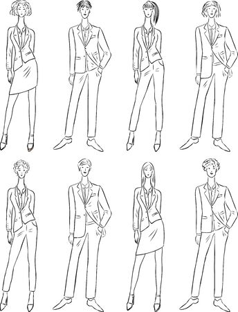 Vector contour drawings of young people in classic business costumes Ilustrace