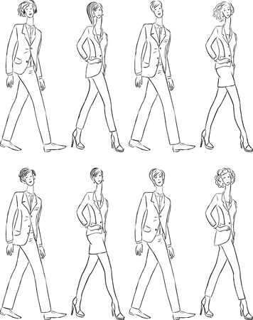 Vector contour drawings of young people in classical business suits