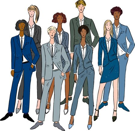 Vector drawing of group young business people in classic suits