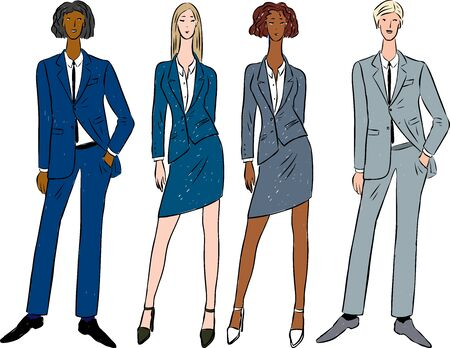 Vector drawing of young business people in classic suits