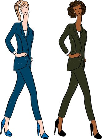 Vector drawing of young business women in classic suits