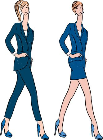 Vector drawing of young fashionable women in classic suits walking on catwalk Ilustrace