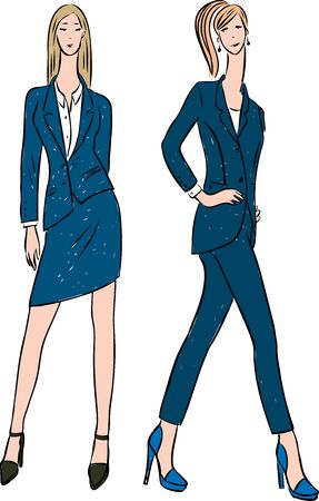 Vector drawing of young fashionable women in classic suits