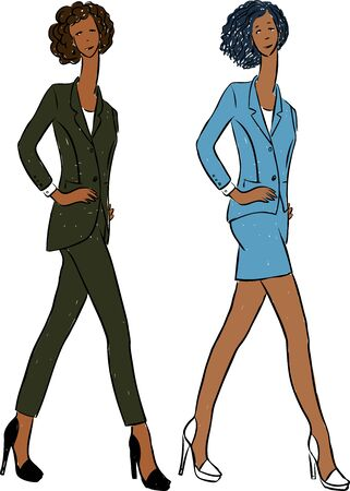 Vector drawing of young slim women in business suits walking on catwalk  イラスト・ベクター素材