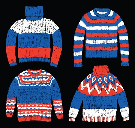 Freehand drawings of wool knitted sweaters for cold weather