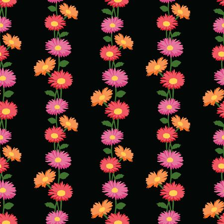 Seamless pattern of colorful garden gerberas