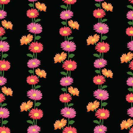 Seamless pattern of colorful garden gerberas