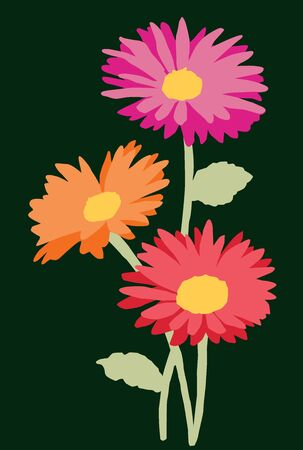 Vector card of bouquet garden gerberas